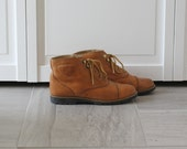 Vintage Tan Leather Hard Sole Work Ankle Boot