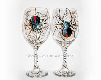Black Widow Spiders Hanging Halloween Hand Painted White Wine Glasses Set of 2 / 20 oz. Halloween Glassware Spider Web Party Gift Black Red