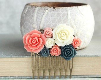 Bridal Hair Comb Coral and Navy Hair Comb Floral Collage Comb Bridesmaids Gift Rose Hair Piece Navy Wedding Something Blue Flowers for Hair