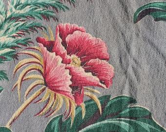 Vintage Barkcloth Fabric Panel Floral Poppy Fern Tropical Eames Era Gray Pink Green Teal