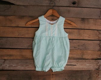 Vintage Little Girls Seafoam Green & White Gingham Romper with Flowers Size 12 Months