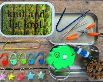 Knitter's Tool Tin - Knit and Let Knit- tin with knitting and notions for your WIP bag!