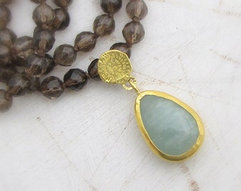 Aquamarine & Smoky Topaz Gold Necklace - 24k Pure Gold Necklace - Statement Necklace