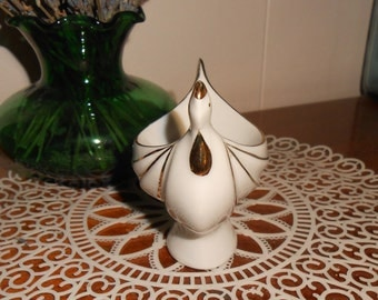 One Vintage Porcelain Rooster Egg Cup White with Gold Trim