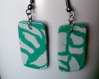 Turquoise and White Geometric Earrings