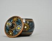 Russian Folk Art Box Pottery Jar Hand Painted Box Black Floral Box Ceramic Jar with Lid Decorative Storage Lidded Jewelry Jar