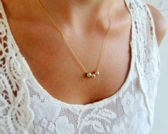 Gold filled necklace, Tiny gold necklace, Gold necklace, Dainty necklace gold, Simple necklace, Minimalist necklace, Gold bead necklace