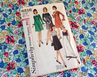 Vintage Simplicity Pattern 6216, 60's Pattern,  Dress Pattern, Junior Size 11 Pattern, Empire Dress Pattern, Formal Pattern