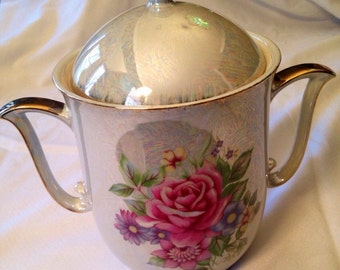 Canister irredescent rose motif japan