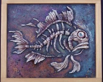 Original OOAK, hand-sculpted, FISHBONES wall plaque by Tom Taggart