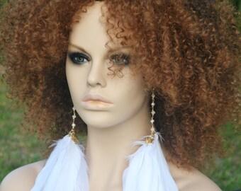 White Feather Earrings, Long White Earrings, Real Feather Earrings