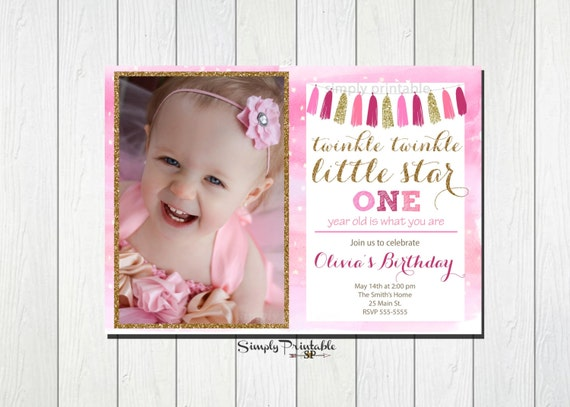 1st Birthday Invitation, First Birthday, Twinkle Twinkle Little Star, Faux Glitter, Gold and Pink Invite