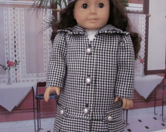 Historical Coat, Wool Coat and Hat, Winter Coat, Hat,  18 inch  Doll Clothes