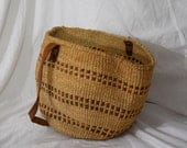 Buckets O' Fun - Medium Size Round Farmers Market Basket Bucket Bag with Leather Strap