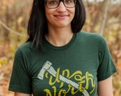 Up North Triblend Emerald Green Shirt. Unisex tee celebrates the midwest. Made in the USA.