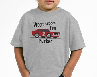 Boy's 1st Birthday Tee - Race Car Birthday Shirt - Vroom I'm 2 (or any age you would like)- Personalized Shirts - Racing Car Birthday Party