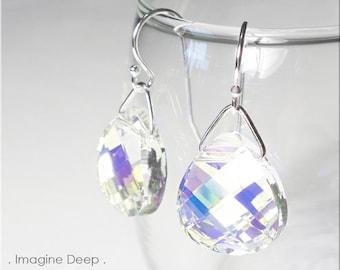 Sterling Silver Crystal Earrings Aurora Borealis Rainbow Swarvoski Crystals Briolette Teardrop Pear Dangle Earrings % SPECIAL