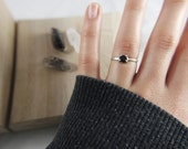 Lolite - Deep Purple Lolite Stone Sterling Silver Simple Stacking Ring - Size 7