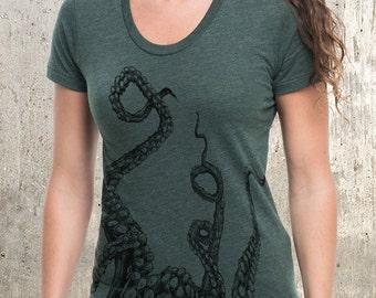 Women's Octopus Tentacles T-Shirt - Women's American Apparel T-Shirt - Heather Forest