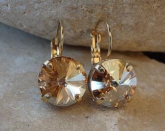 Champagne Drop Earrings, Champagne Topaz Crystal Swarovski Earrings, Bridesmaids Gift, Bridal Earrings, Gold or Silver Crystal Earrings