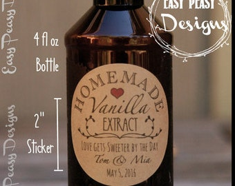 Vintage Vanilla Extract Labels. Textured Kraft Brown Favor Labels. Custom Wedding Favor Labels. Homemade Food Labels. Many Sizes Available.