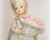 Night Light Night Lamp Child's Nightlight Vintage Lefton REDUCED PRICE Angel or Girl Figurine.  Porcelain.  Soft Pastel Colors.
