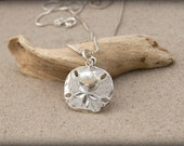 BEACH JEWELRY, Sterling Silver Sand Dollar Necklace with Pearl, Wedding Gift, Engagement Gift, Beach Wedding Bride Gift, Sand Dollar Jewelry