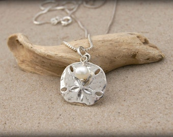 Sand dollar necklace beach necklace silver and gold beach jewelry sterling silver sand dollar necklace with pearl beach girl gift beach aloadofball Images