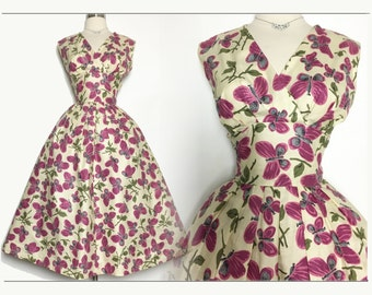 Vintage 1950s Dress | Butterflies | Pink Butterfly Dress | 1950s Party Dress | Full Dress | Designer Dress | 50s Dress |