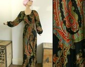 Vintage 60s 70s Paisley Print Maxi Dress with Bell Sleeves - Boho Hippie Dress