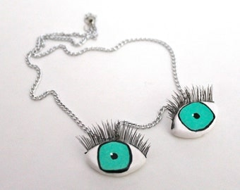 Eyeball Necklace / Eye Necklace with Eyelashes {hand painted / kitschy / oddity / surreal / creepy}