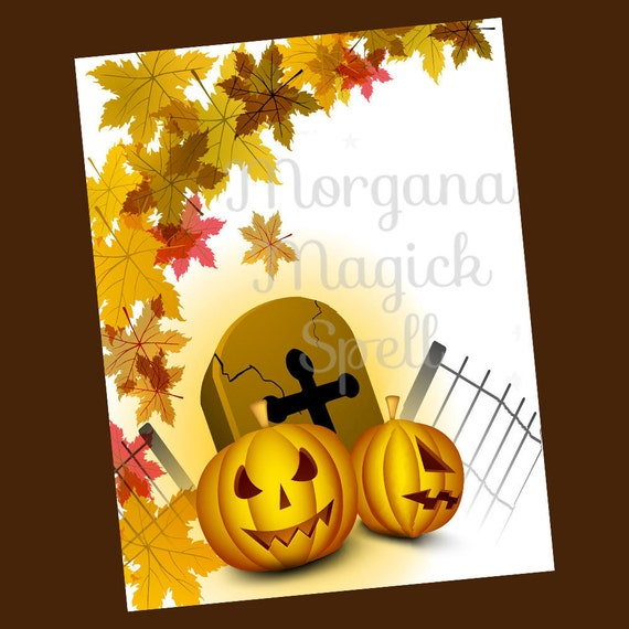 PUMPKINS & LEAVES HALLOWEEN Blank Book of Shadows Page