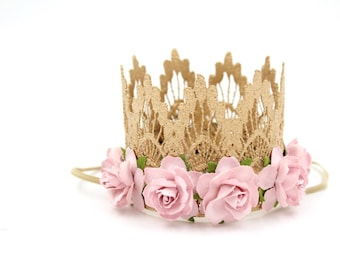 Princess lace crown || Ready to Ship || mini ROSE GOLD Sienna with rose pink flowers