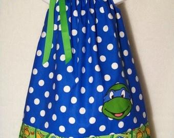 Teenage Mutant Ninja Turtles TMNT Pillowcase Dress/ Leonardo / Super Hero/ Birthday/ Infant/ Girl / Baby/ Toddler / Custom Boutique Clothing