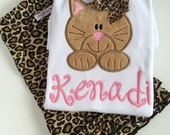 Kitten shirt for girls - Kitty cat shirt or bodysuit - sweet kitty shirt in tan and pink, leopard print bow - color changes welcomed