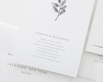 Minimalist Wedding Invitation Sample - Jordyn | Watercolor Invitations | Black and White Wedding Invitations | Modern Wedding Invitations