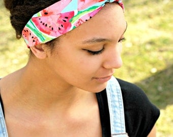 Watermelon Fun Summer Hair Accessory, Bow Tie Headband, Pink Hair Scarf
