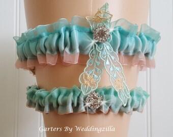 Blue Ombre Wedding Garter Set, Blue Dusty Pink Ombre Organza Garter, Blue Organza Bridal Garter,  Wedding Garter Belt