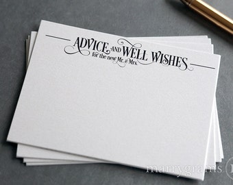 Wedding Advice Cards - Guest Book Alternative Marriage Tips, Well Wishes for the Bride & Groom Cards Wedding Reception Guestbook Script SS06