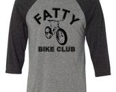 Fat Bike T-shirt-Fatty Bike Club-Bicycle Baseball Shirt in Heather Grey and Charcoal