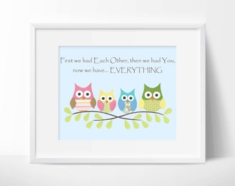 Owls- First we had each other, Nursery or children artwork, decoupage, blue, pink, green, yellow, brown, bird, tree branch