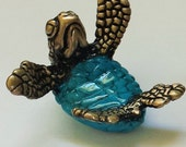 NEW ITEM - SNUGGLE, baby sea turtle, limited edition bronze sculpture
