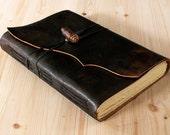 "Leather Journal, Leather Notebook, Sketchbook, Blank Book Handmade. Reddish - Black, ""Antiqued Meditatio"". A5 size."