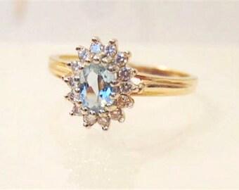 Vintage 14K Aquamarine Diamond Ring/ Yellow/ White Gold, Free Shipping
