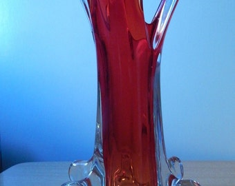Red Murano Glass Vase - Mid Century  - Handmade - island of Murano