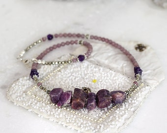 Raw Sapphire Necklace - Purple Statement Necklace - Purple Stone Jewelry - Purple Sapphire Necklace - Chunky Necklace
