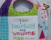Wonderfully Made Scripture Religious Embroidered Baby Bib Girl Birthday Gift Idea Princess Castle Flower Birds
