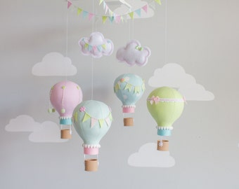 Pastel Baby Mobile, Hot Air Balloons, Nursery Decor, Personalized Baby Mobile, Travel Theme Nursery, i144