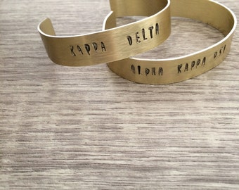 Custom Sorority Gold Cuff Personalized
