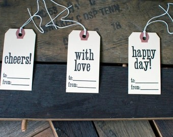 Letterpress Gift Tags - Cheers, With Love, Happy Day - Set of 6